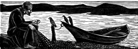 wood-engraving print: The Fisherman for The Bird Talisman